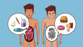 Young man and digestive system HD animation