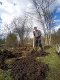 The young man digging ground and preparing for planting on the wet soil in the early spring Royalty Free Stock Images