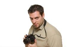 Young man with digital camera Royalty Free Stock Photos