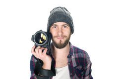 Young man with digital camera isolated Royalty Free Stock Images