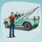 Tow truck operator and pickup wagon Royalty Free Stock Photo