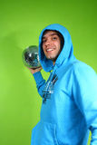 Young man with a discoball Royalty Free Stock Images