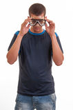 Young man with diving mask. Snorkeling, swimming, vacation conce Stock Images
