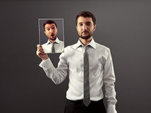 Man do not showing his astonishment Stock Image