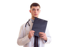 Young man in doctor gown Stock Photos