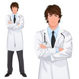 Young man doctor. Young handsome male medicine doctor assistant standing in white lab coat with stethoscope, arms crossed vector illustration Stock Photos