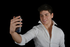 Young Man Does Selfie Stock Images