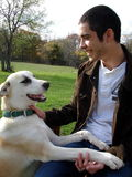 Young man and dog. A young man playing with his hound dog Royalty Free Stock Photography