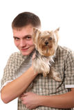 Young man with a dog. On a white background Stock Photos