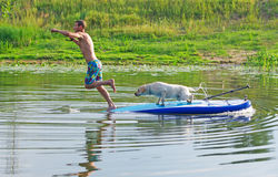 The young man and dog in the boat. The  jumps from the  in water. Stock Photos