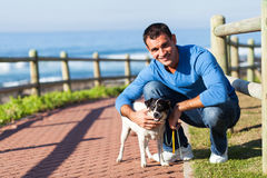 Young man dog Stock Photography