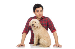 The young man with dog isolated on white. Young man with dog isolated on white Royalty Free Stock Photography