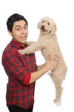 The young man with dog isolated on white. Young man with dog isolated on white Royalty Free Stock Image