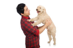 The young man with dog isolated on white. Young man with dog isolated on white Stock Photo