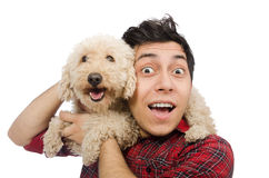 The young man with dog isolated on white. Young man with dog isolated on white Royalty Free Stock Photo