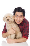 The young man with dog isolated on white. Young man with dog isolated on white Stock Images