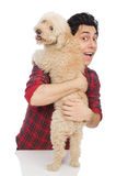 Young man with dog isolated on white Royalty Free Stock Photo
