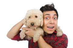 Young man with dog isolated on white. The young man with dog isolated on white Stock Photo