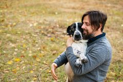 Man and dog in autumn park. Young man with dog walks in autumn park. He hugs pet. Dog is hunting, short-footed, lop-eared and spotty stock image