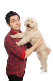 The young man with dog on white Stock Image