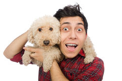The young man with dog on white. Young man with dog isolated on white Royalty Free Stock Photography