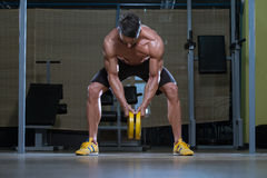 Young Man Doing Back Exercises In The Gym Royalty Free Stock Images