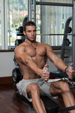 Young Man Doing Back Exercises In The Gym Royalty Free Stock Image