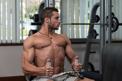 Young Man Doing Back Exercises In The Gym Stock Photography