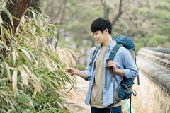 Young man doing a backpacking trip in a Korean traditional house. A young man doing a backpacking trip in a Korean traditional house stock image