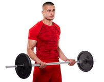 Young man doing biceps workout Royalty Free Stock Photo