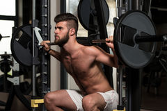 Young Man Doing Exercise Barbell Squat Royalty Free Stock Images