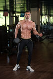 Young Man Doing Exercise For Biceps With Dumbbells Royalty Free Stock Photography