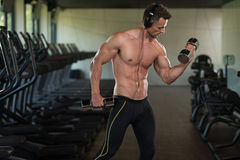 Young Man Doing Exercise For Biceps With Dumbbells Stock Image