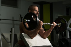 Young Man Doing Exercise For Biceps Stock Photos