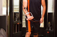 Young man doing exercise for triceps in the gym Royalty Free Stock Photo