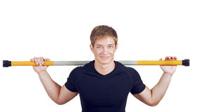 Young man doing exercises Stock Photo