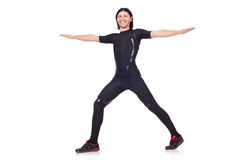 Young man doing exercises Stock Photos