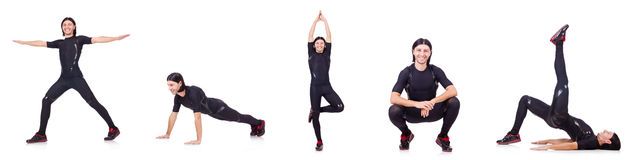 Young man doing exercises on white Royalty Free Stock Photography