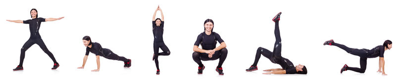 The young man doing exercises Royalty Free Stock Image
