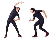 The young man doing exercises Stock Image