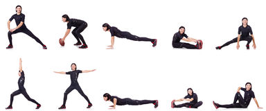 The young man doing exercises on white Stock Images