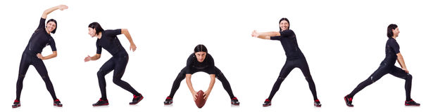 The young man doing exercises on white Stock Photos