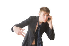 Cool youngster speaking on the phone Royalty Free Stock Photography