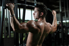 Young Man Doing Heavy Weight Exercise For Back Stock Images