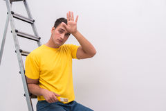 The young man doing home improvements Stock Photo