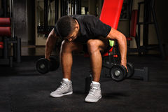 Young man doing Seated Bent Over Dumbbell Reverse Royalty Free Stock Photography