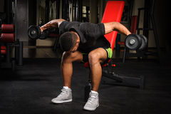 Young man doing Seated Bent Over Dumbbell Reverse Royalty Free Stock Images