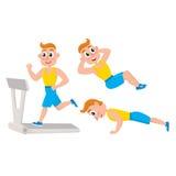 Young man doing sport exercises, training, push-ups, Stock Image