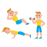 Young man doing sport exercises, training, weightlifting, doing sit-ops, push-ups Stock Photo