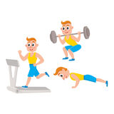 Young man doing sport exercises, training, weightlifting, doing sit-ups Stock Photo